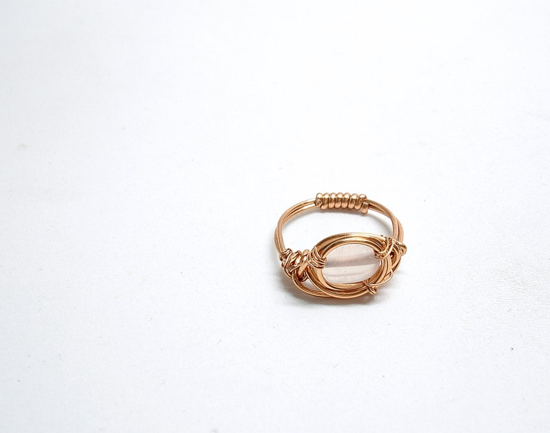 Stone jewerly Raw gemstone ring for women Copper ring with rose quartz