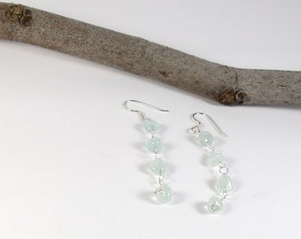 Aquamarine earrings. Sterling silver earrings. Long woman earrings. Gift for her. Gift for wife