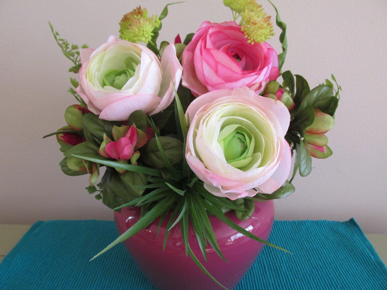 Table Centerpiece Pink Flowers Ranunculus Summer Flower Etsy