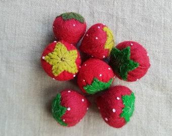 Felt Strawberries play food