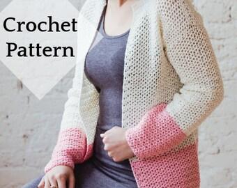 Sophia Cardi Crochet Pattern // PDF Pattern Easy Garment Jacket Color Block Sweater V Stitch Pink Spring Summer Cardigan Lace Mesh Knit