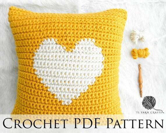One Heart Pillow Crochet Pattern Intarsia Crochet Heart Etsy