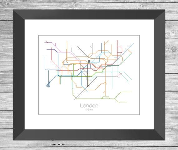 London Tube Map London Underground Map London England Map Etsy