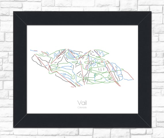 Vail Colorado Vail Map Vail Art Vail Trail Map Vail | Etsy
