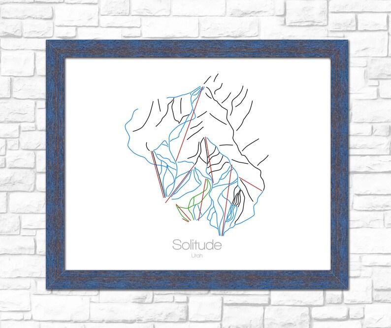 Solitude Utah Map.Solitude Map Utah Ut Ski Snowboard Trail Map Art Print Etsy