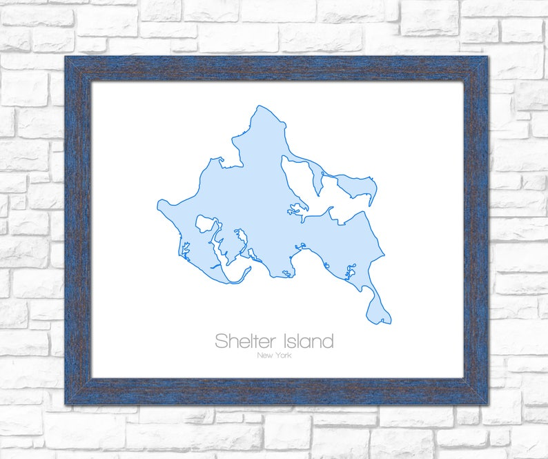 Hamptons New York Map.Shelter Island New York Ny Map Art Print Poster Gift Etsy