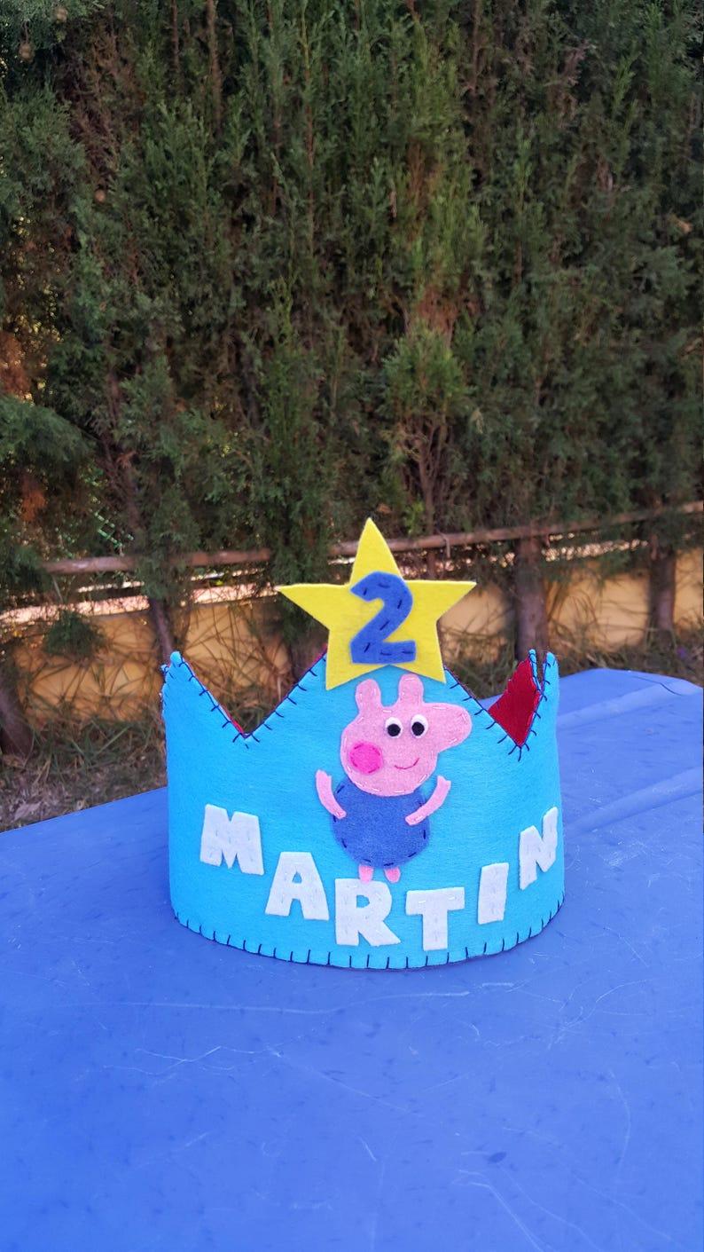 Peppa pig George birthday crown  birthday decor  birthday hat  Peppa  party hat