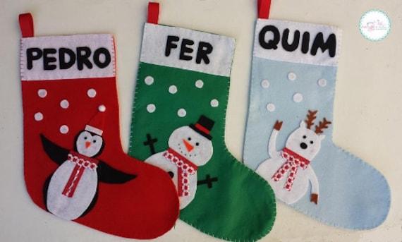 Art culos similares a botas navidenas de fieltro personalizados calcetines de navidad saco de - Calcetines de navidad personalizados ...