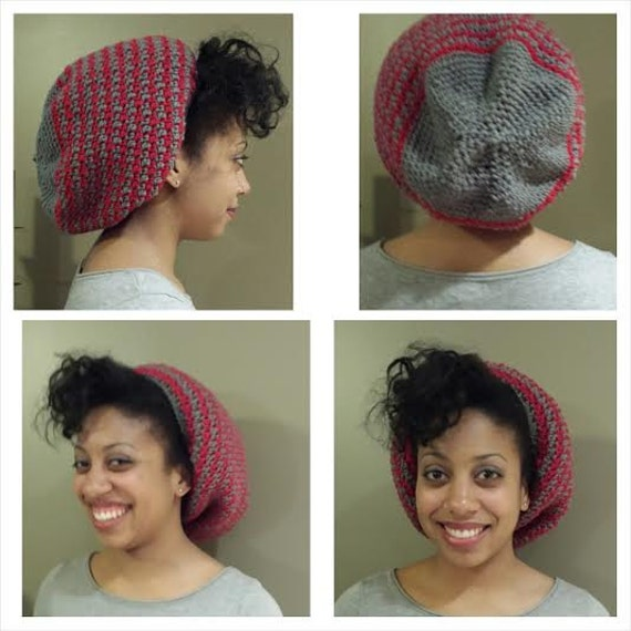 Satin-lined Two-Color Slouchy Beanie Hat for Natural hair  336b32f8e83