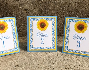 Handmade Table Numbers, Blue and Yellow, Sunflower, Wedding, Special Event, Reception, Tented