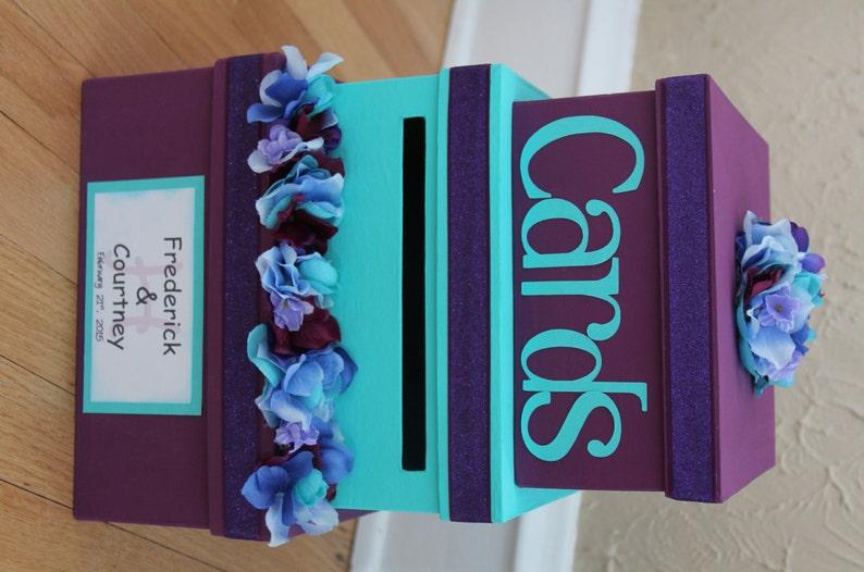 wedding card box wedding card holder 3 tier square purple