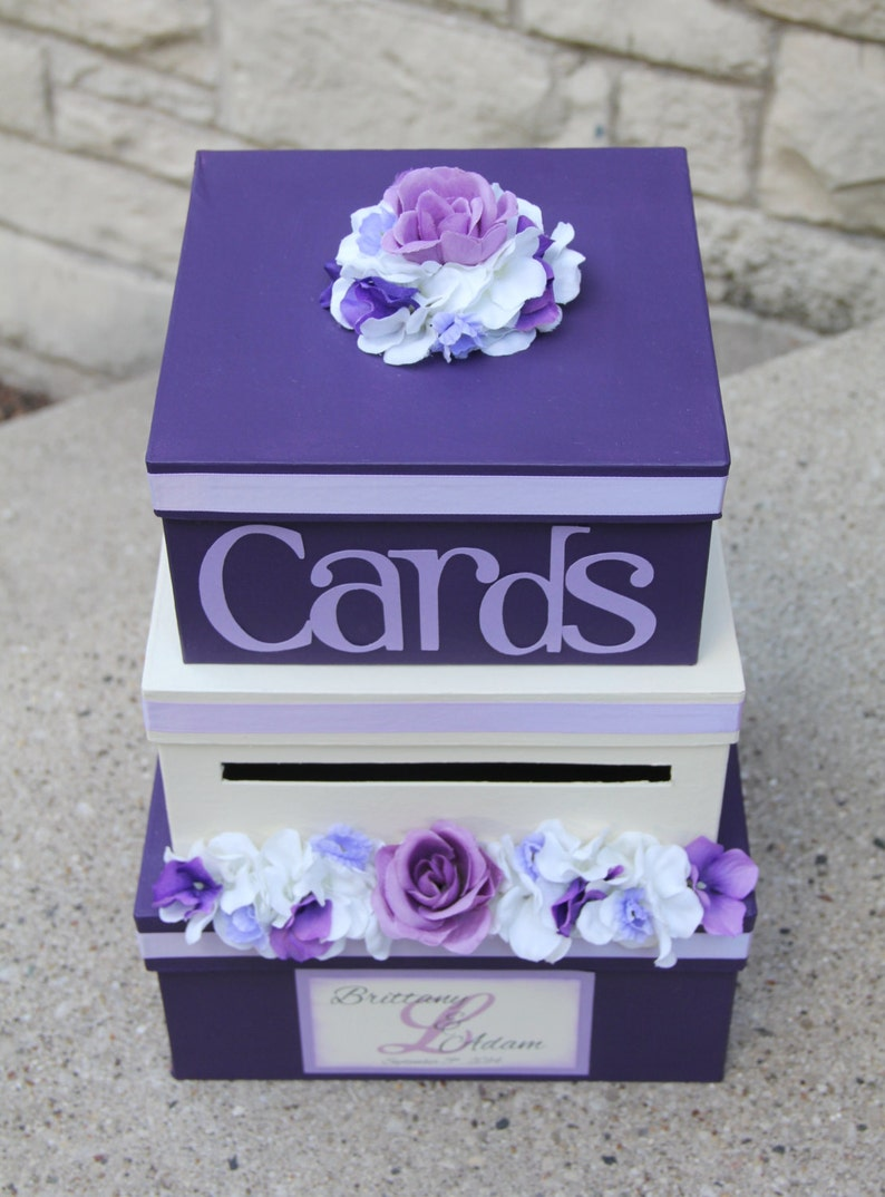 wedding card box 3 tier card holder square purple and  etsy