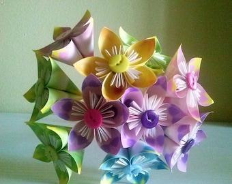 Paper Bouquet, colored flower set 10 pz