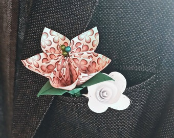 Flagship, wedding flowers, wedding flower bouquet, lapel pin, paper flower, paper flowers