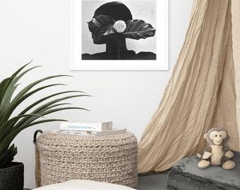 Flowered Melanin Print - Black and White Fine Art Fashion Photography Wall Art