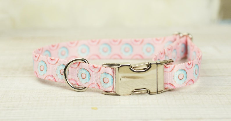 blue and pink donuts donut dog accessory donut dog collar Pink Donut Dog Collar