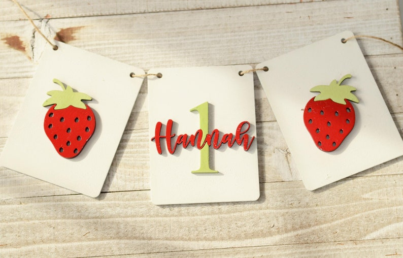 Highchair Banner 1st birthday Strawberry Highchair Banner Strawberry Party Strawberry Birthday Decoration Strawberry Theme