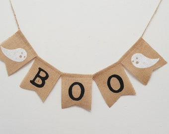 Boo - Halloween Boo Burlap Banner- Fall Decor - Halloween Decor