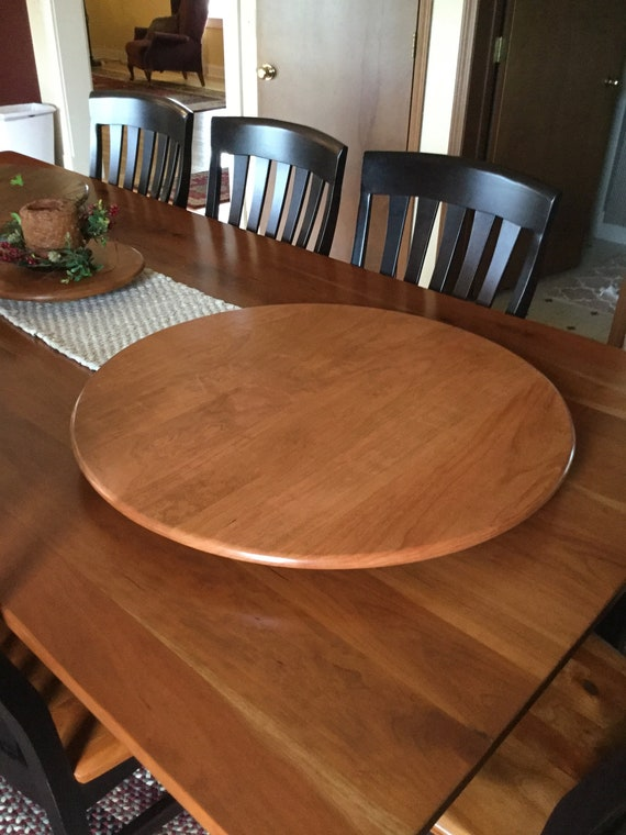 28 Inch Cherry Wood Lazy Susan Turntable