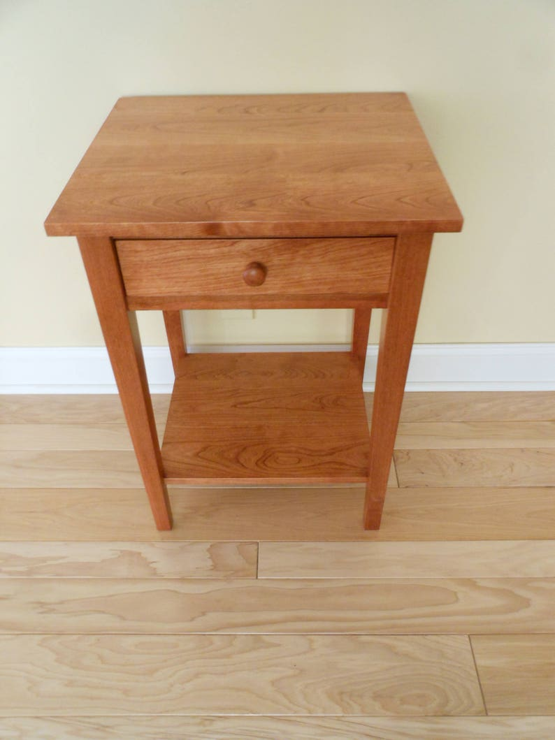 cheaper d939c bfa93 Cherry Nightstand/Bedside/End Shaker Style Table with Shelf & Draw