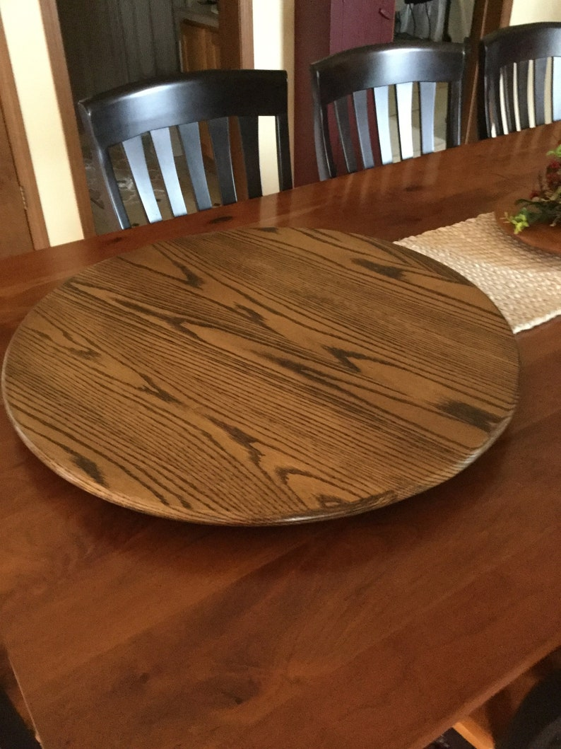 28 Inch Oak Wood Lazy Susan Turntable