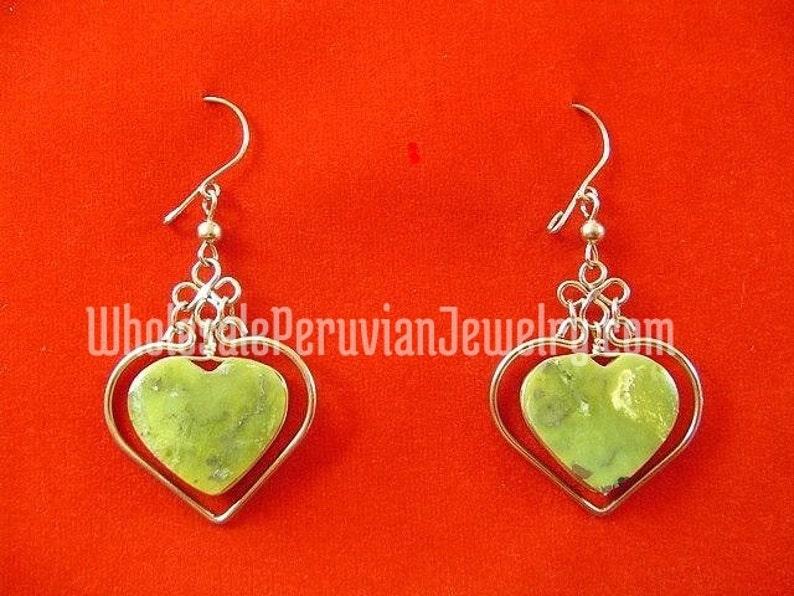 f47185207880 Corazón serpentina verde claro Alpaca plata Inca aretes