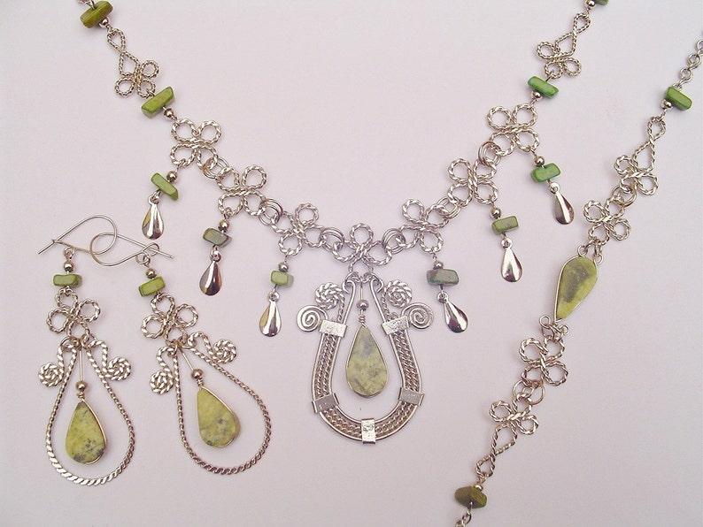 Necklace Light Green Serpentine Teardrops Horseshoe Design Earrings Bracelet Set Peruvian Jewelry Handmade in Peru