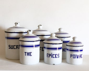 French Antique Enamel Canisters - French Kitchen Canisters - French Enamelware - Vintage Canister Set of 6 - White and Blue Enamelware