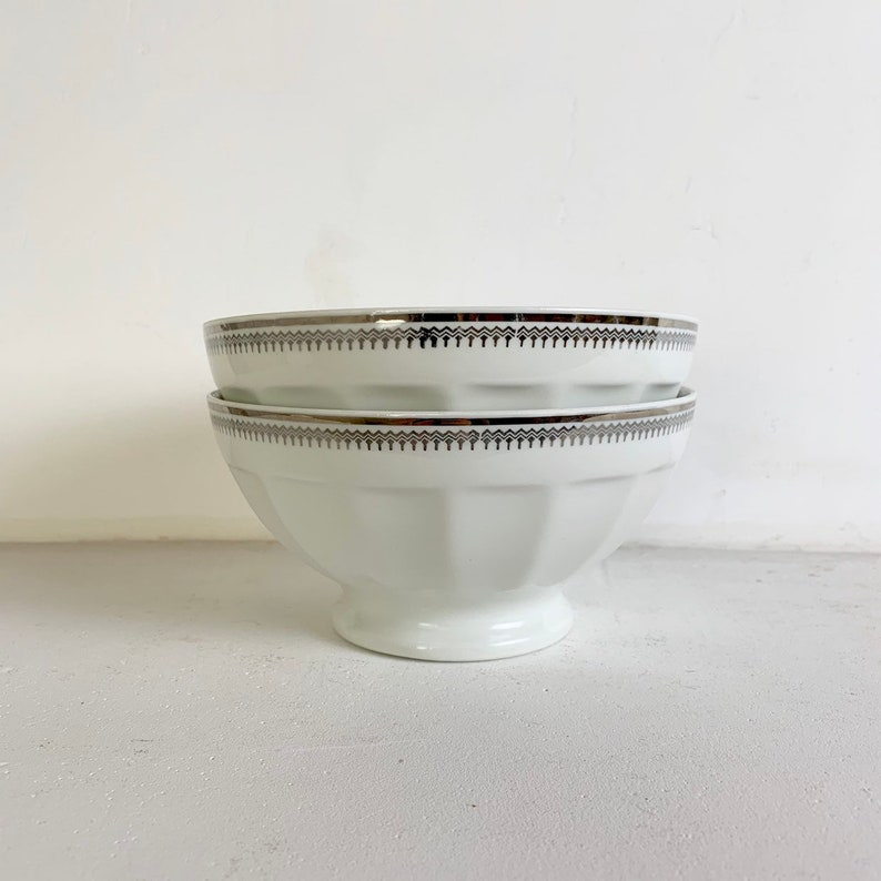French Vintage Coffee Bowls White and Silver Bowls Shabby Chic Breakfast Bowls Twin Set French Vintage Limoges Coffee Bowls