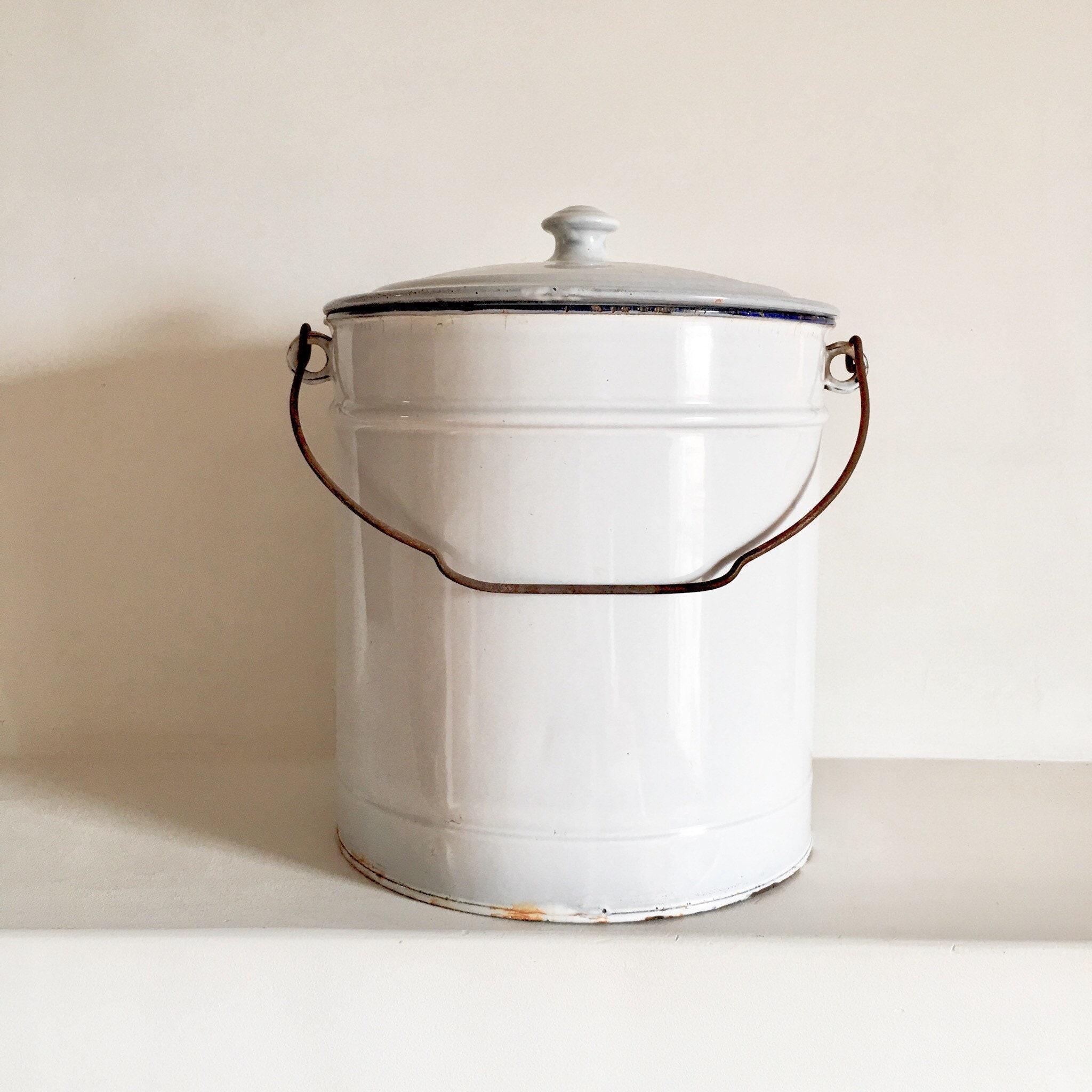 old enamel bucket white