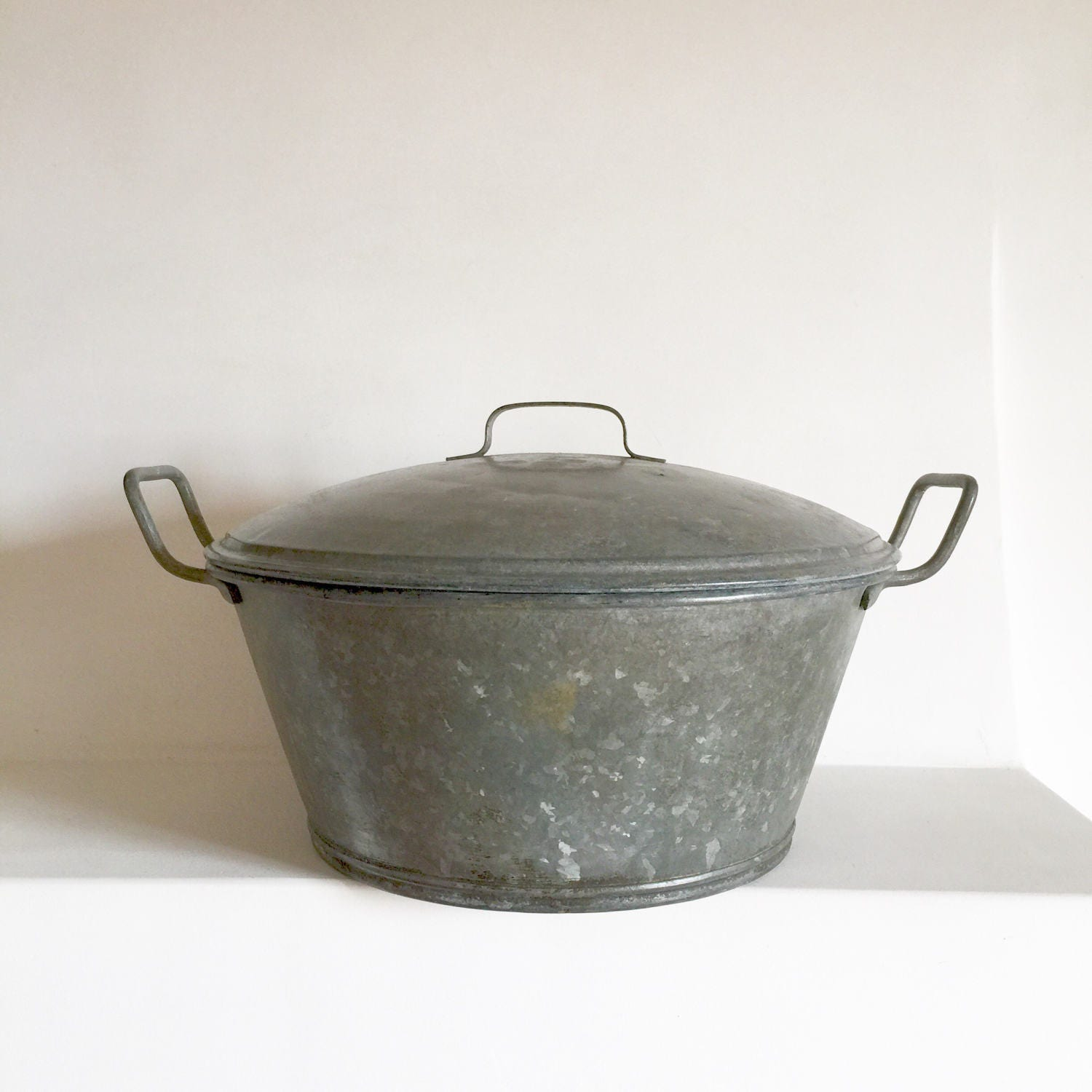 Rustic French Antique Zinc Wash Basin With Lid Galvanized