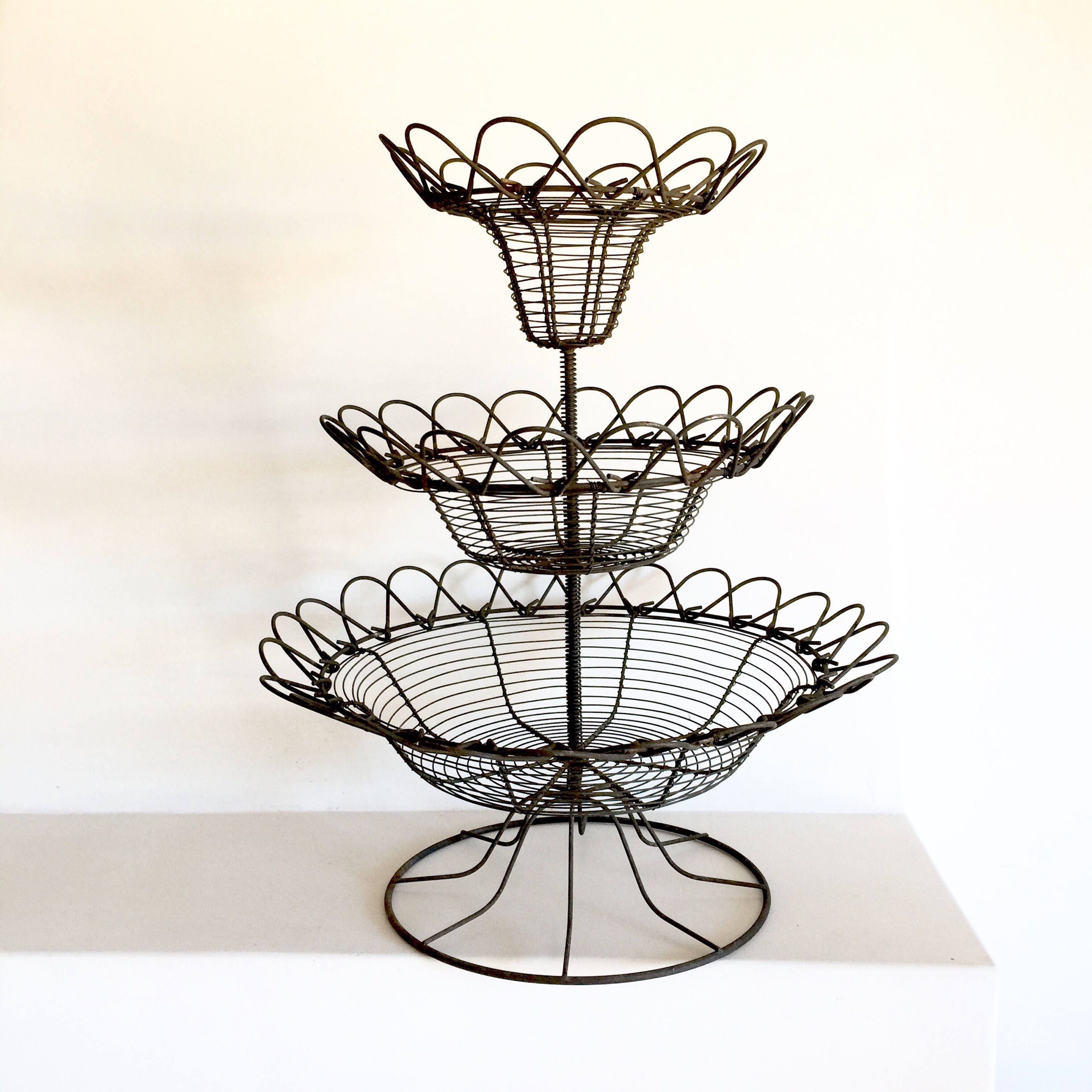 French Vintage Fruit Stand Fruit Basket French Wire Display Stand 3 Tier Wire Stand Metal Wire Display Basket