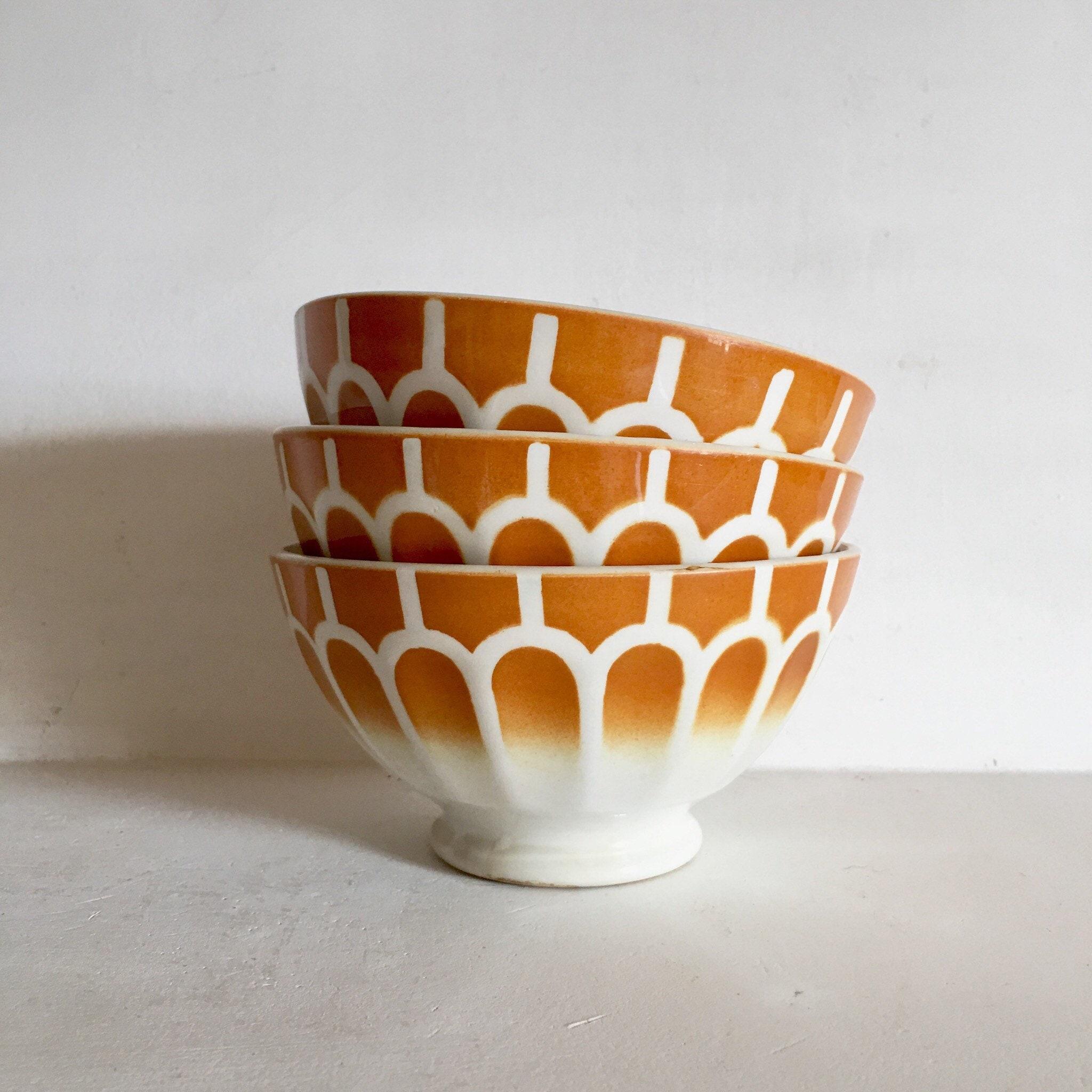 French Antique Coffee Bowls Cafe au Lait Bowls Set of 3   Etsy