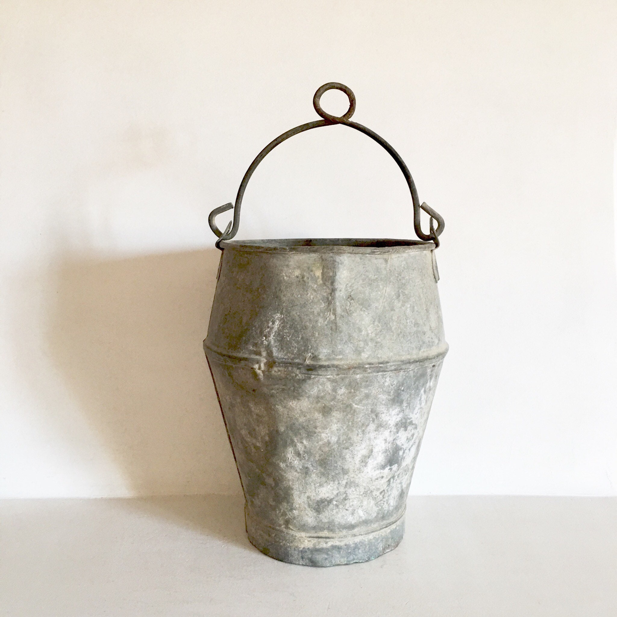 French Antique Zinc Bucket   Shabby Chic Garden Bucket   Milking Bucket    Well Bucket   French Country Garden Decor   Fabulous Patina