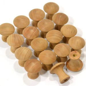 FAST SHIPPING Cabinet Knobs Door Knobs 12 Pack of Solid Cherry Unfinished Wood Shaker Knobs with Brass Insert Dresser Knobs