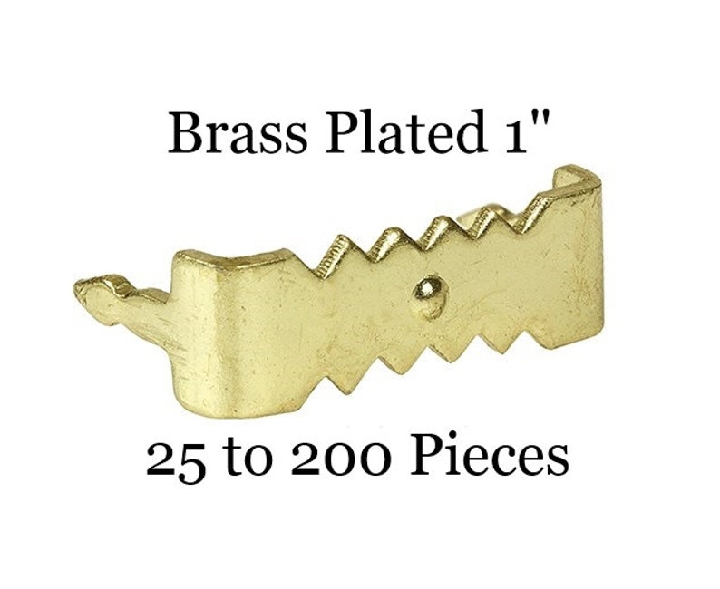 50 Pack Small Brass Tap-On Saw Tooth Hanger-Steel Framing Hardware Sample