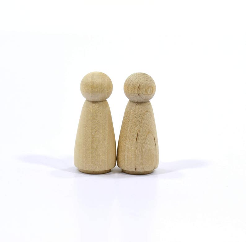 12 Girl or Sister Unfinished Peg Dolls-Solid Hardwood-Natural-Finely Sanded and Ready for your Paint or Stain-2 2.25cm 5cm x 78