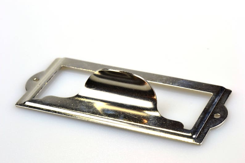 Card Holder Drawer Pull Metal Label Holder 4 to 15 Nickel Plated or Silver Steel Label Holders with Finger Pull