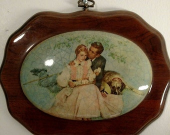 Beautiful wooden wall plaque, lovers with dog and daisies