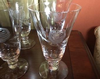 FOSTORIA crystal ROSE 6036 pattern Iced Tea Glasses set of 4