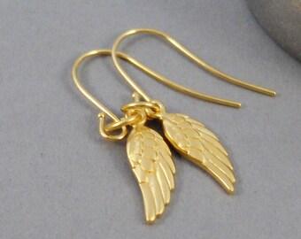 Golden Wings,Earrings,Gold Earrings,Gold,Gold Filled,Wing,Angel Wing,Angel Wing Earrings,Gold Wing,Gold Earring,Handmade by SeaMaidenJewelry