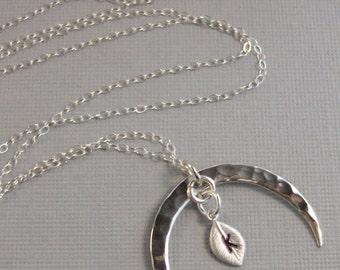 Moon Leaf,Moon Neckalce,Moon Jewlery,Moon Pendant,Personalized Jewelry,Custom Jewelry,Leaf Necklace,Leaf Jewelry,Leaf in handmade