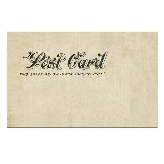 postcard back postcard template postcard download old etsy
