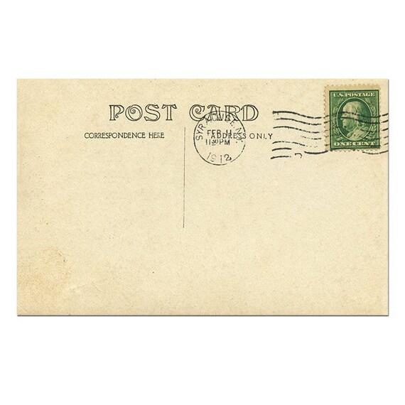 Post Card Template | Postcard Back Postcard Template Postcard Download Old Etsy