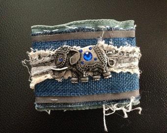 Elephant, fabric cuff bracelet