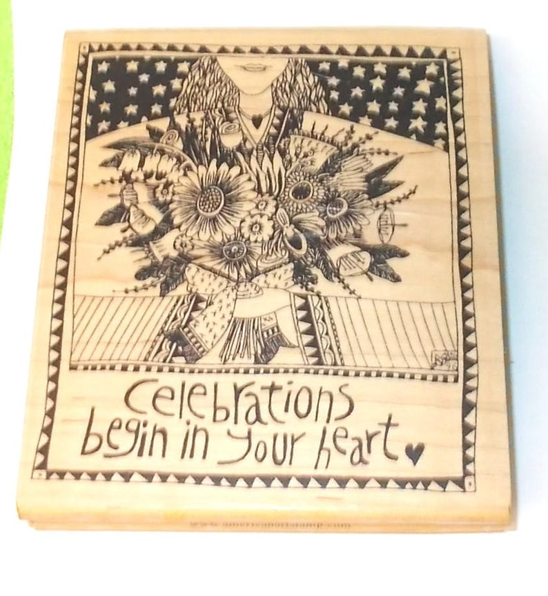 Collectible Marsha Mccarthy rubber stamp woman flowers by American Art stamps wood mounted papercrafting cardmaking mixed media collage