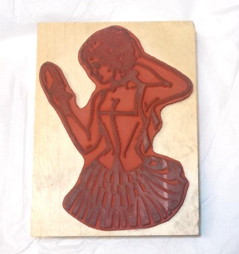 Moulin Rouge woman rubber stamp Her Majesty Images from the Queen/'s Ink PF-045 L  wood mounted art stamps cardmaking journaling stamping art