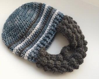 Grey Beard Baby Hat - Boy Beard Baby Hat - Baby Boy Beard Hat - Grey Beard for Boys - Crochet  Toddler Boy Hat
