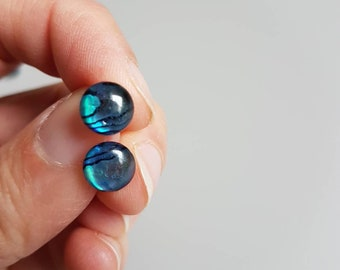 Paua Abalone Shell Stud Earrings, Shell Earrings, Blue Earrings, Abalone Jewelry, Shell Jewelry, Girlfriend Gift, Natural Abalone
