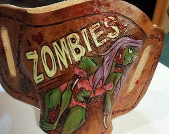 ZOMBIE Gun Holster Leather conceal carry semi auto revolver hand created work of art OWB